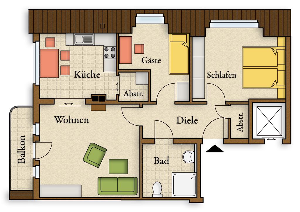 Grundriss 3 zimmer wohnung balkon beste von zuhause for Beste grundrisse